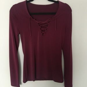 Express burgundy lace up top